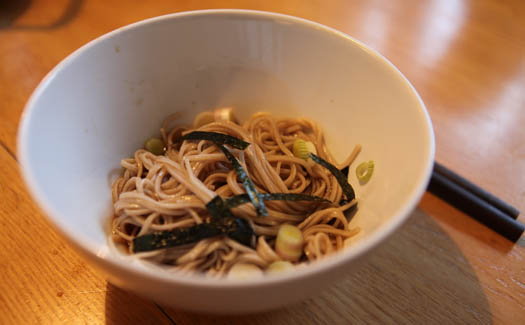 Sample local food like cold soba with self made tsuyu